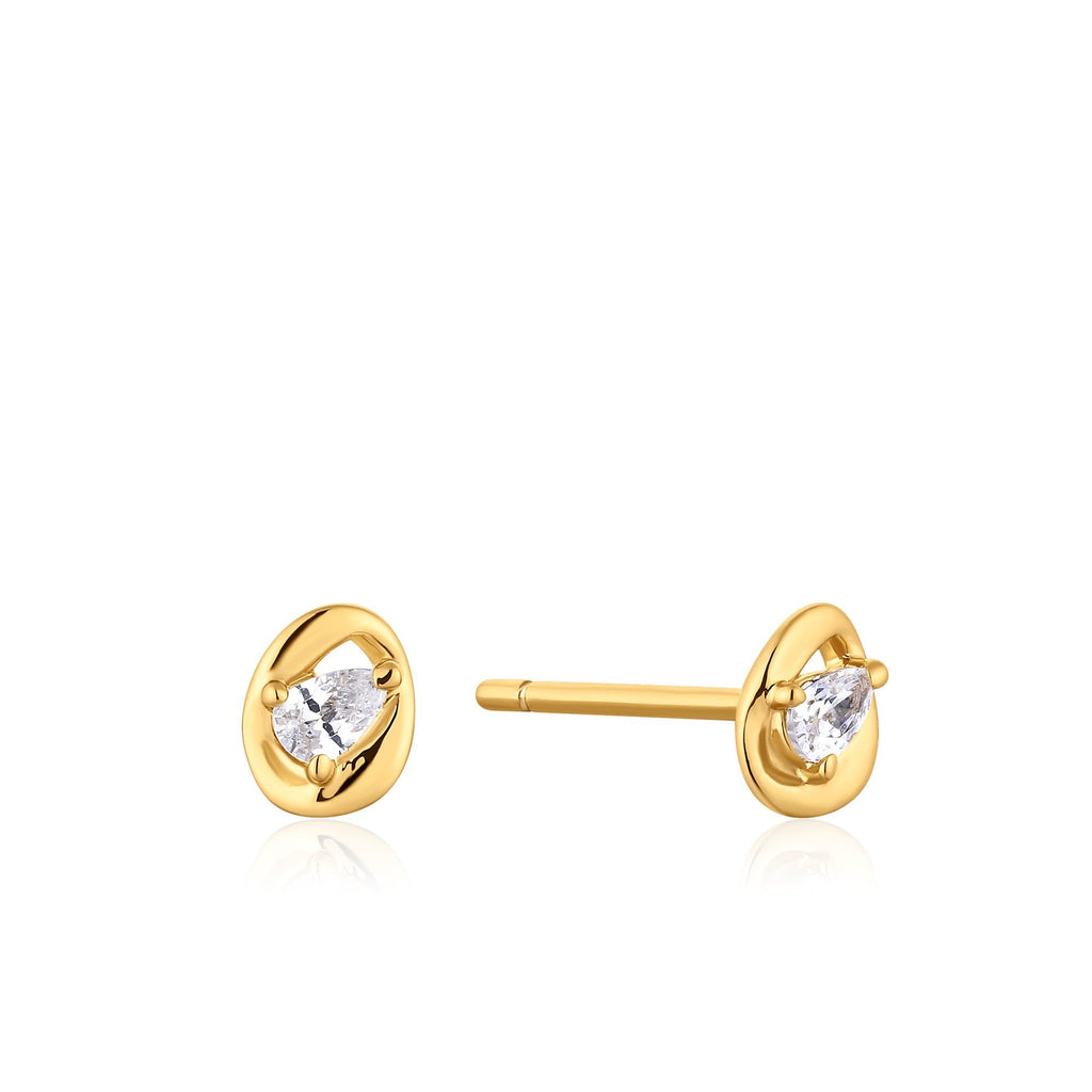 Round Framed Zircon Stud Earrings