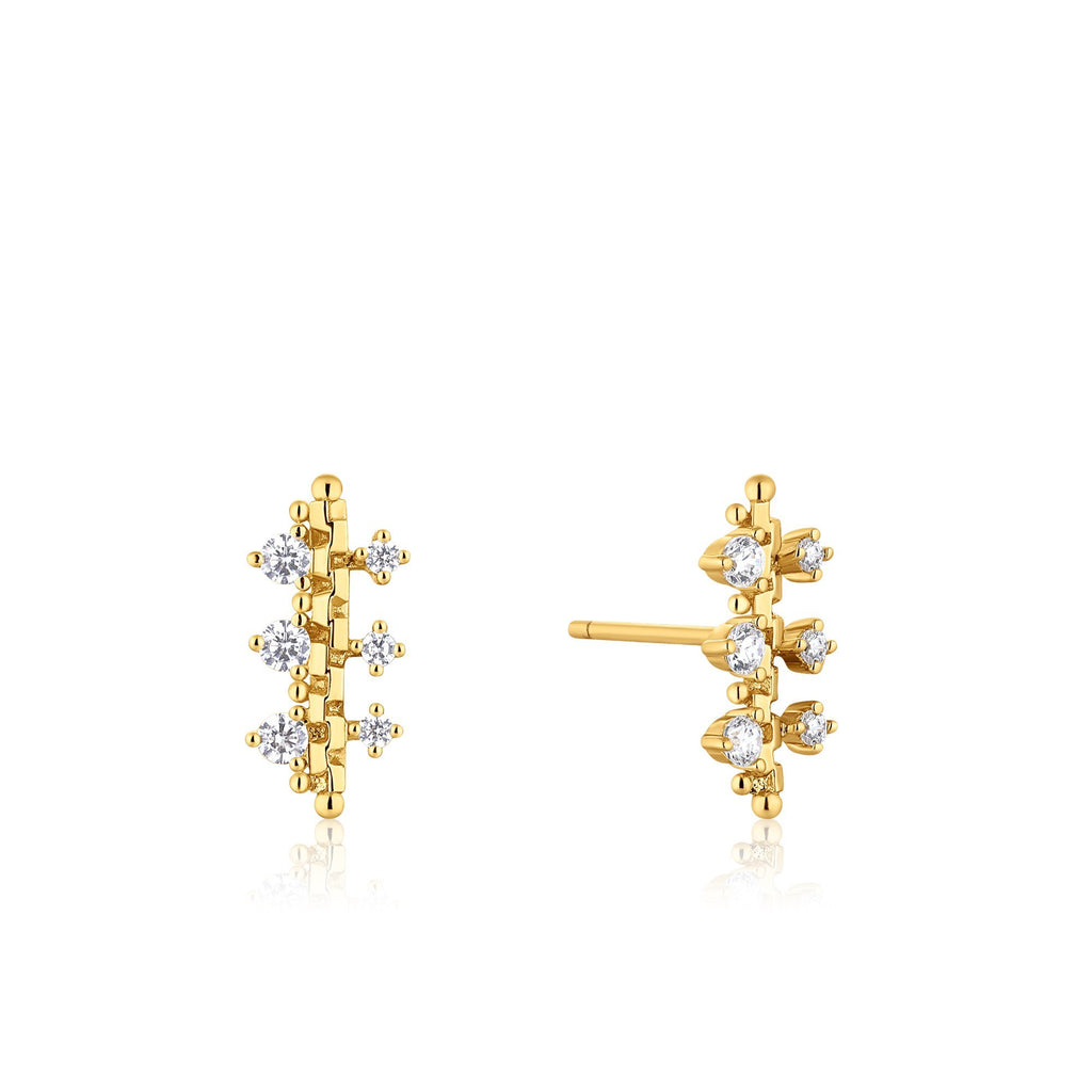 Post-Back Earrings with Zircon Gold Studding