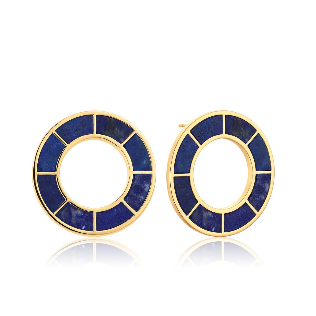 Circle Gold Hoops with Inset Lapis