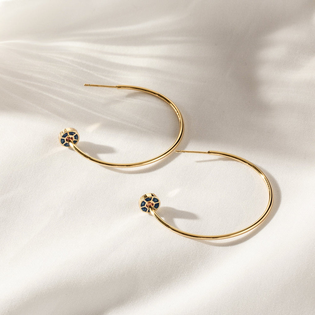 CLIQUE | Gold Open Hoops with Blue Enamel Disks
