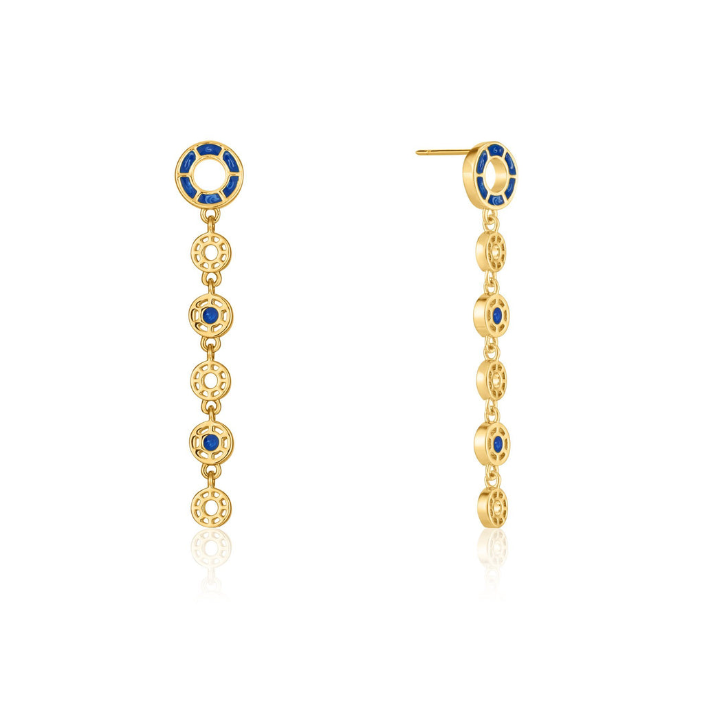 Blue Enamel Dangle Gold Earrings