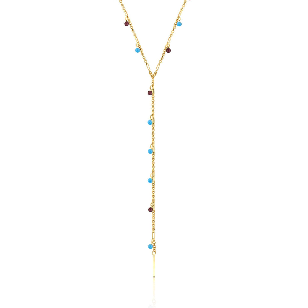Brown & Blue Murano Glass Y Gold Necklace