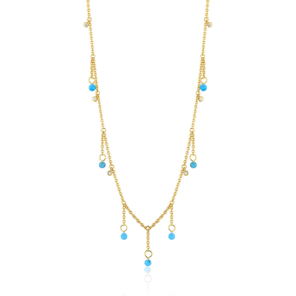 Murano Glass Droplets & Zircon Studded Gold Necklace