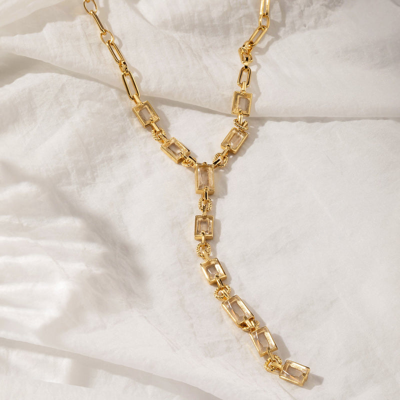 THEO | Crystal Cluster Link Chain Y-Necklace