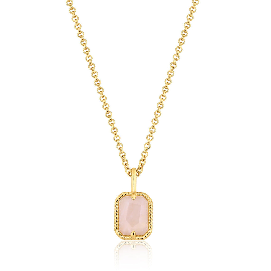 Gold Rose Quartz Rectangle Pendant