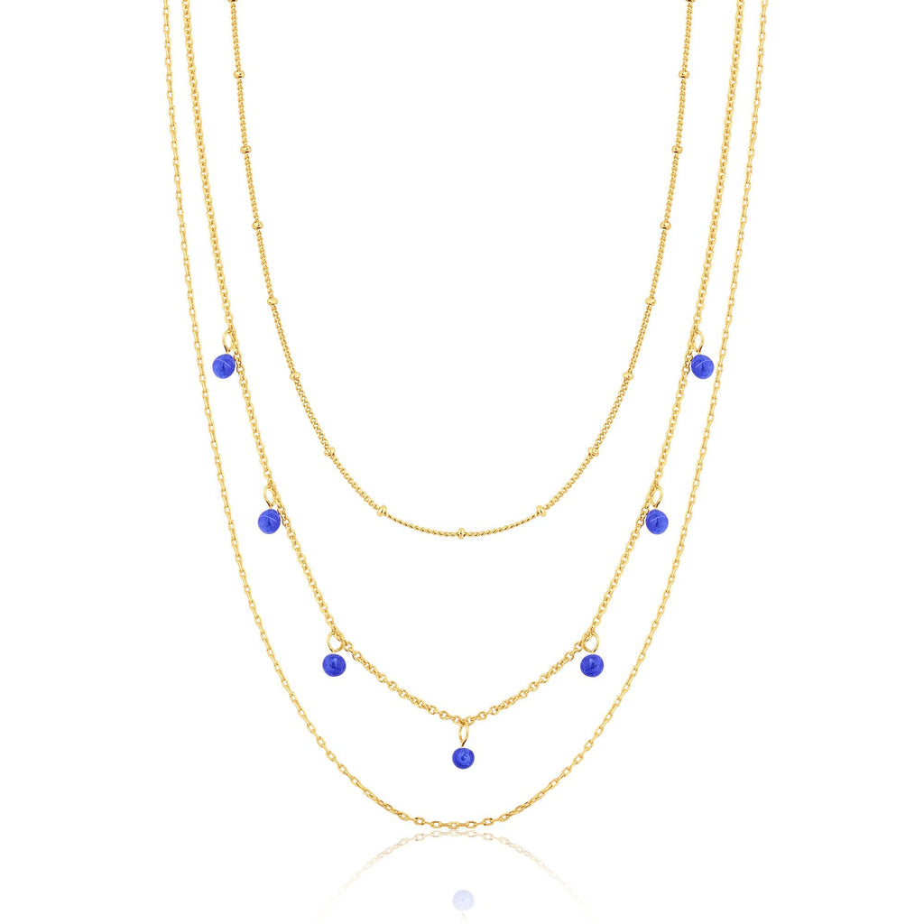 3-Chain Multi-Length Necklace with Murano Glass Dangles
