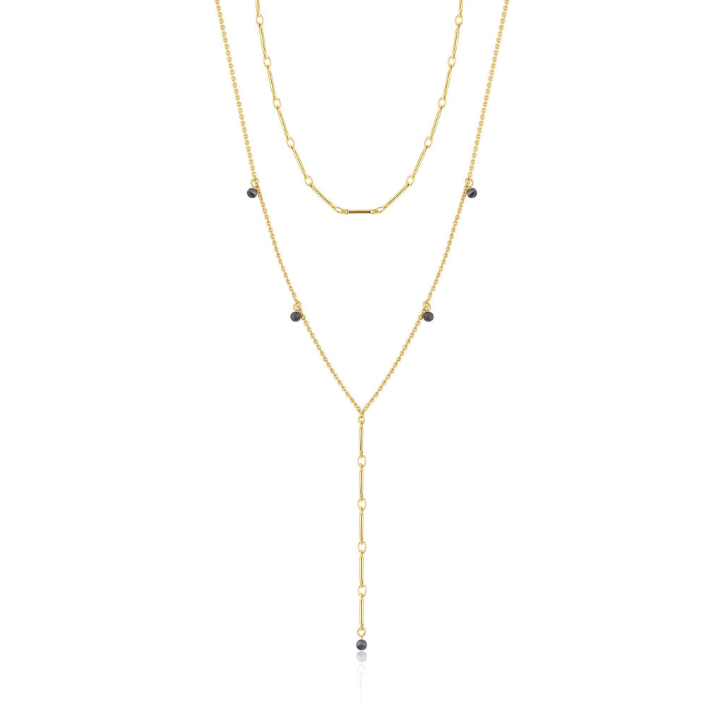 Double Chain Murano Glass Y Gold Necklace
