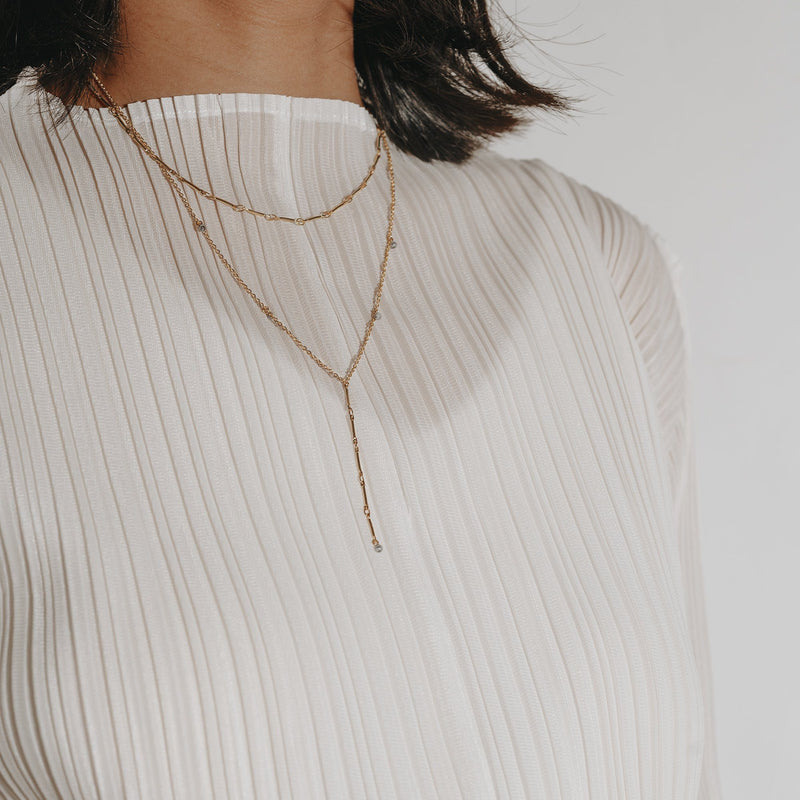 double-chained Y Gold necklace