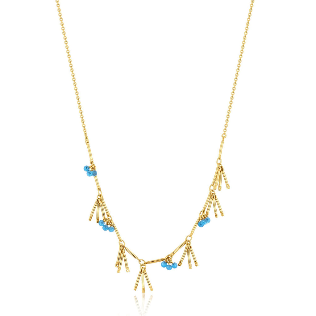 Coral & Blue Murano Bead Gold Necklace with 3-Chain Droplets