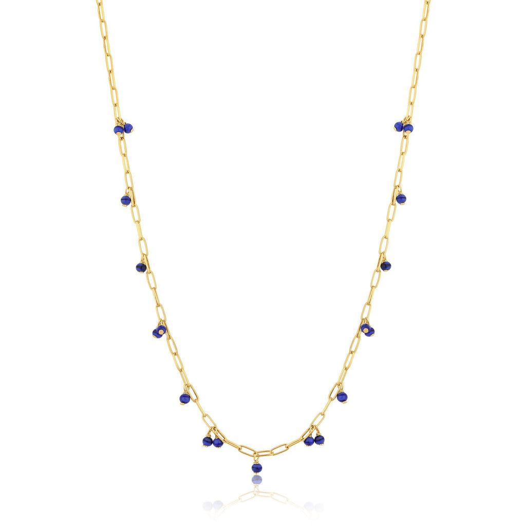 Link Chain Necklace with Blue Murano Glass Drops
