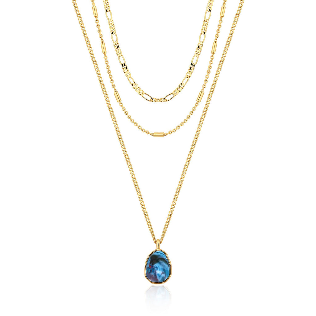 3-Chain Necklace with Blue Murano Glass Beads & Pendant