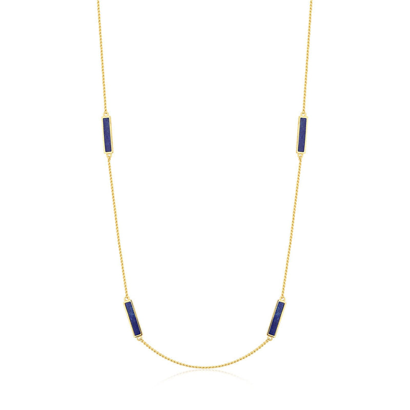 Sleek Chain with Blue Quartz Gold Necklace