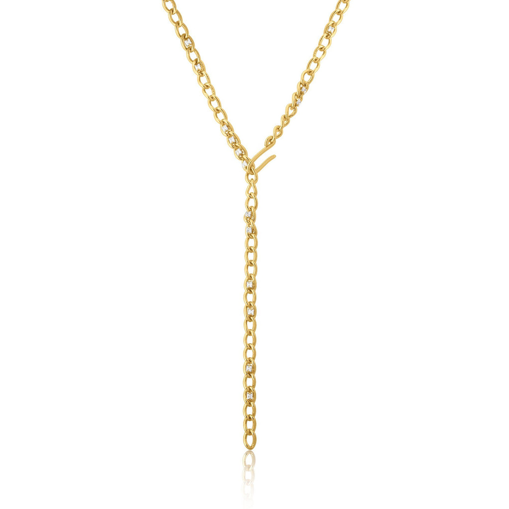 Front Closure Figaro-Inspired Zircon Gold Necklace