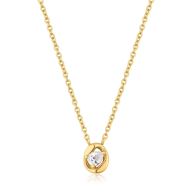 Gold Zircon Framed Pendant