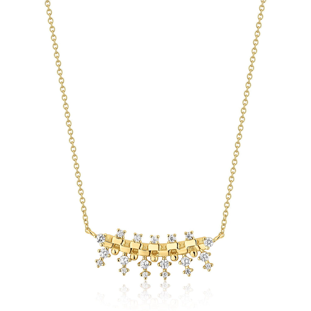 Choker Length Zircon Studded Gold Necklace