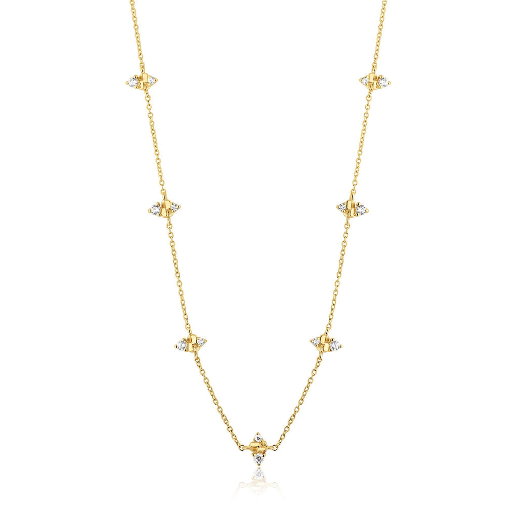 Marquis-Cut Zircon Studded Choker Length Gold Necklace