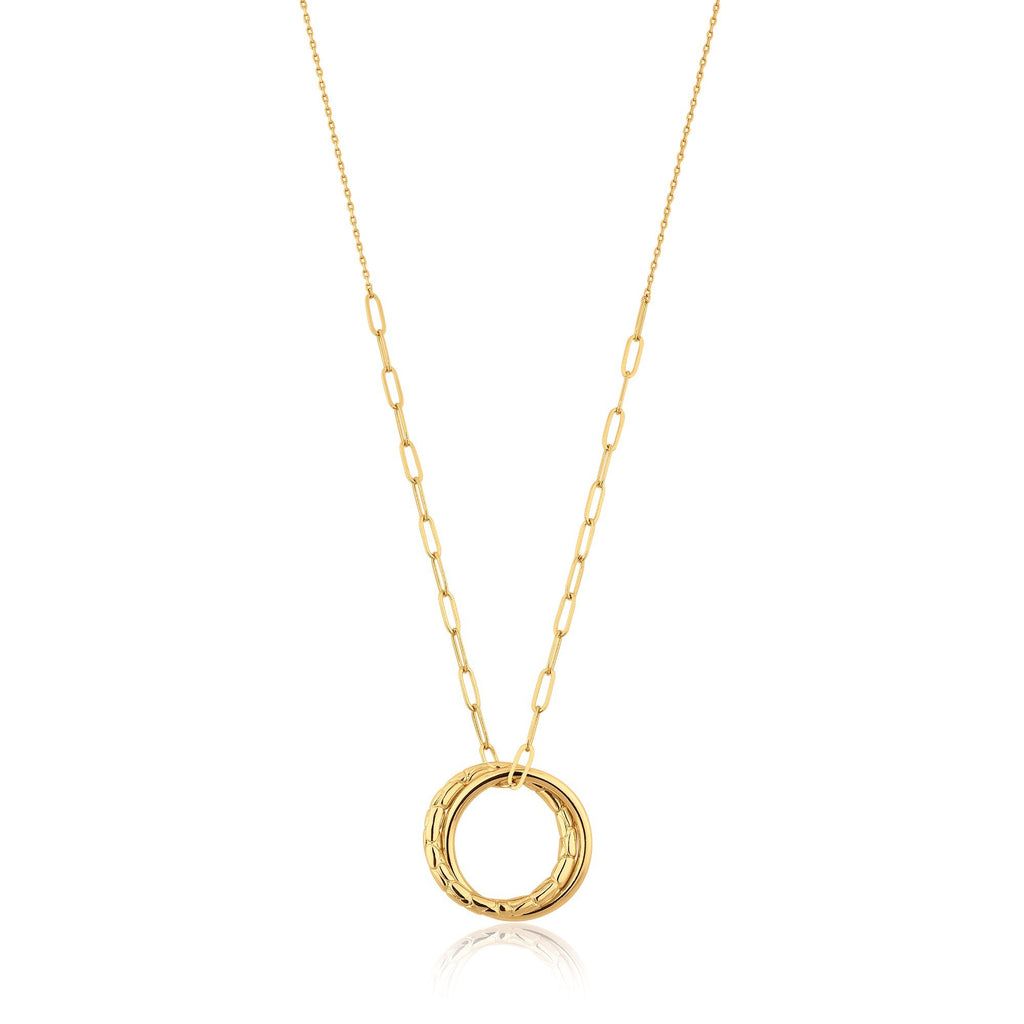 Gold Drop Disk Circle Pendant