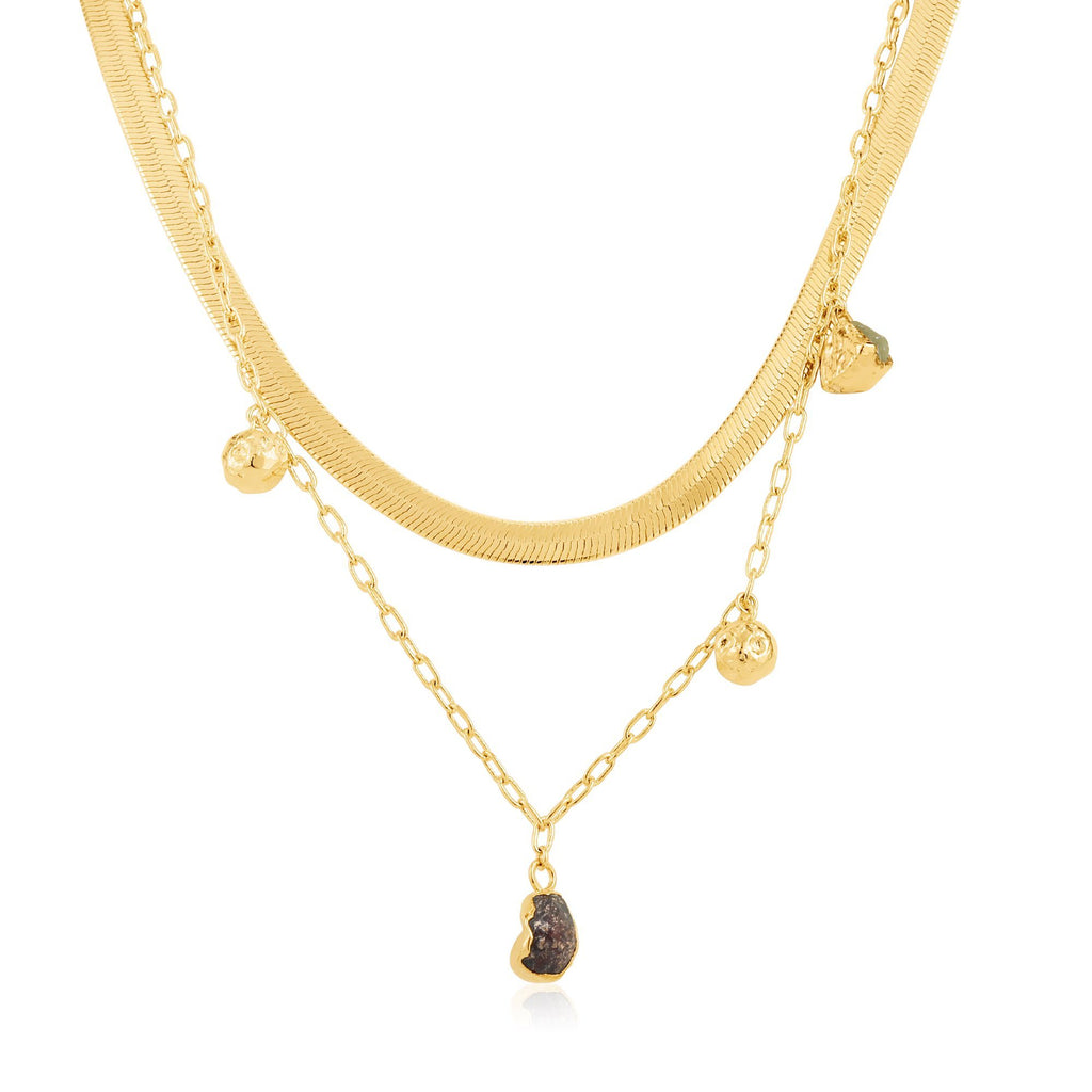 Garnet & Olivine Dual Chain Pendant Gold Necklace