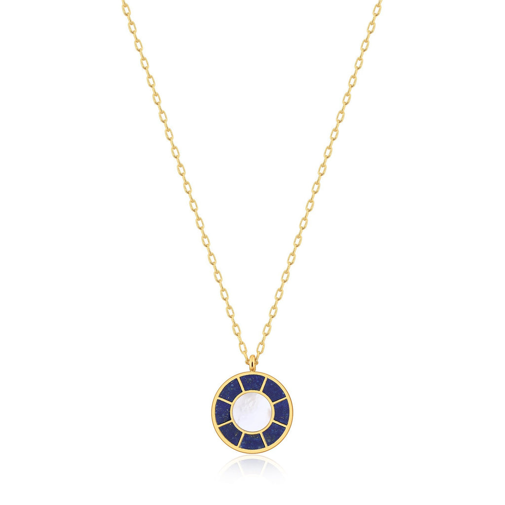 apis & Shell Round Pendant Gold Necklace