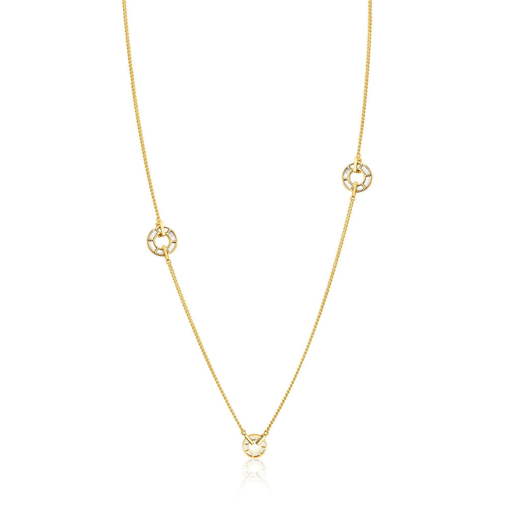 Princess Length Circle Shell Stone Gold Necklace