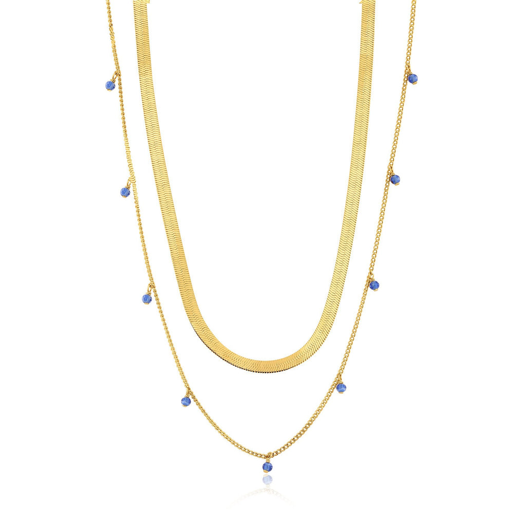 Thick & Thin Double Chain with Dangles Gold Necklace