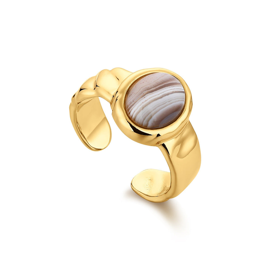 Round Bezel Set Tswana Open Back Gold Ring