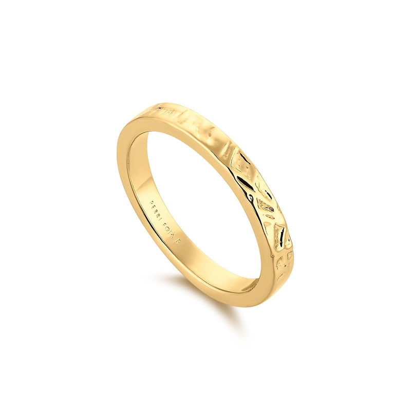 Thin Textured Gold Band