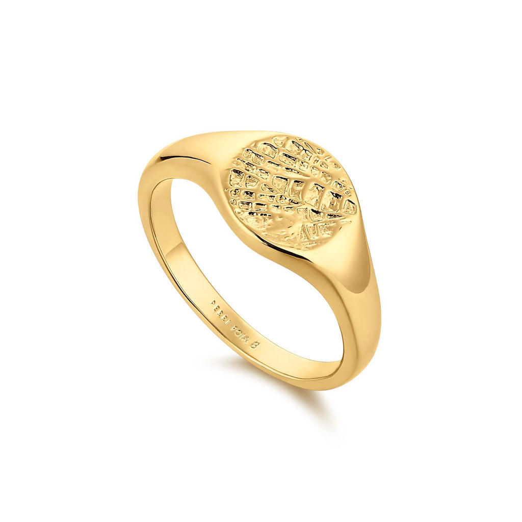 Dainty Gold Ring with Round Textured Surface