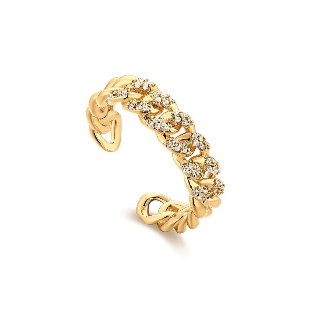 Interlinked Zircon Studded Gold Band
