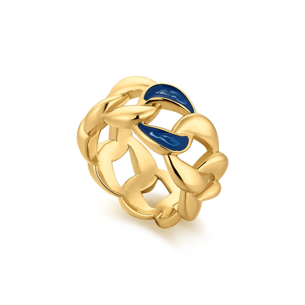 Bold Link Chain Wide Band with Blue Enamel