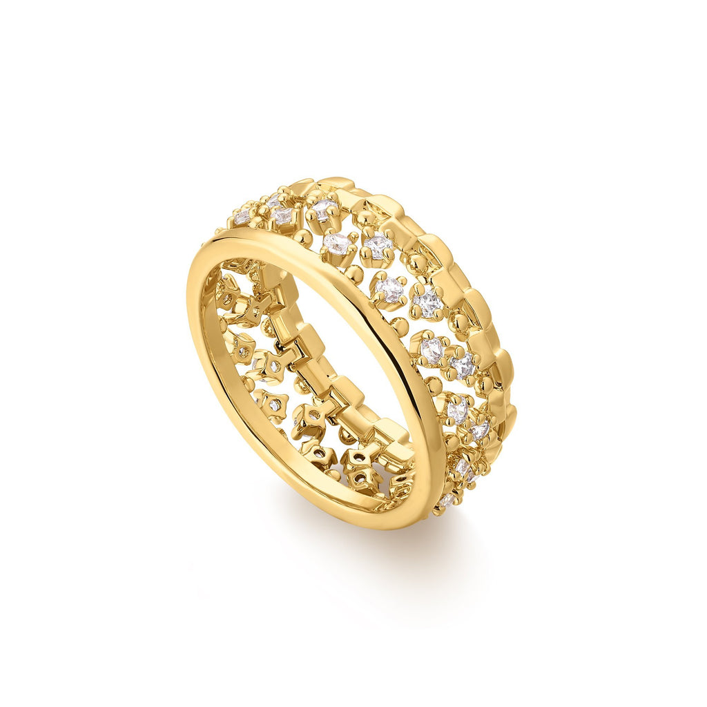 Zircon Studded Cutwork Gold Ring