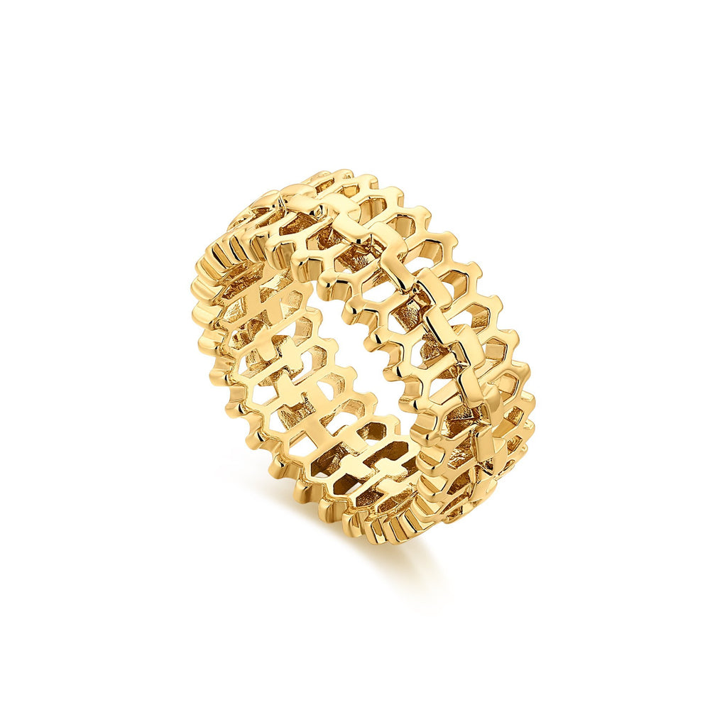 Textured Cutout Spiny Gold Band