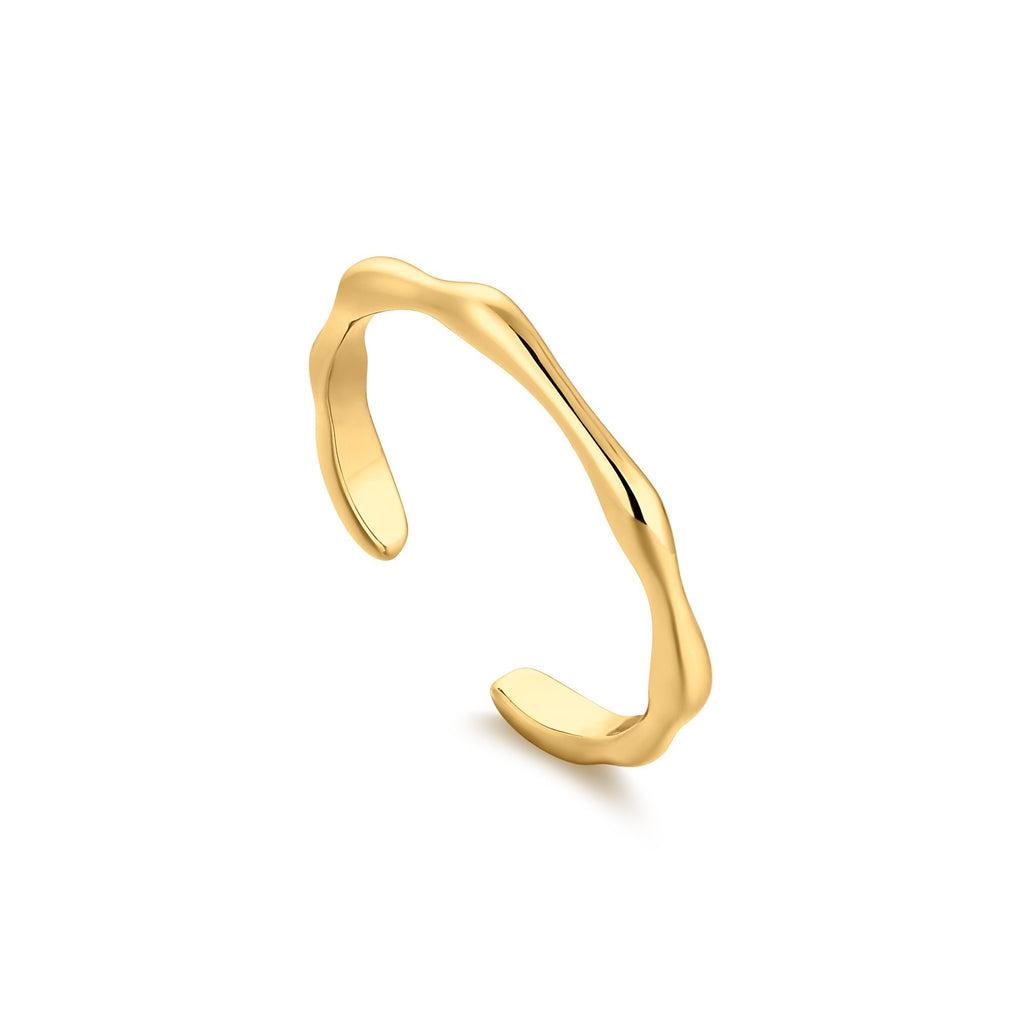 Wavy Narrow Open Gold Band