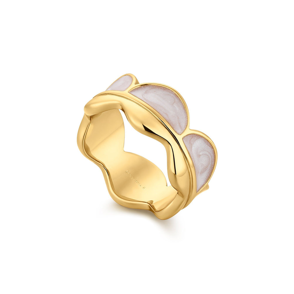Wavy Pink Enamel Gold Band