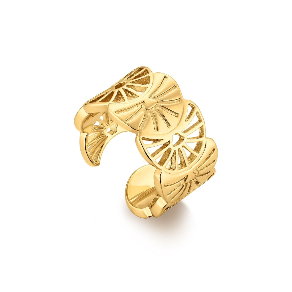 Open Cut Floral Wide Gold Band