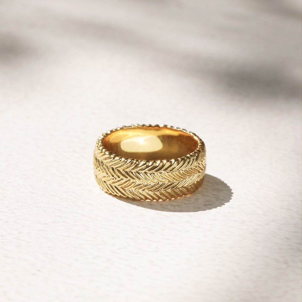 highly textured gold ring