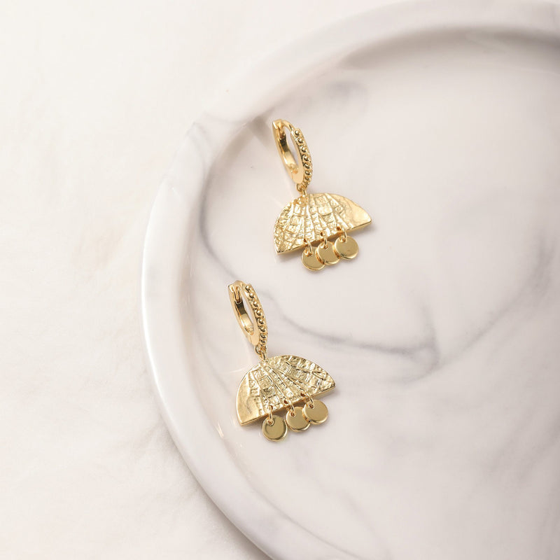 18K Yellow Gold Plated Brass Earring