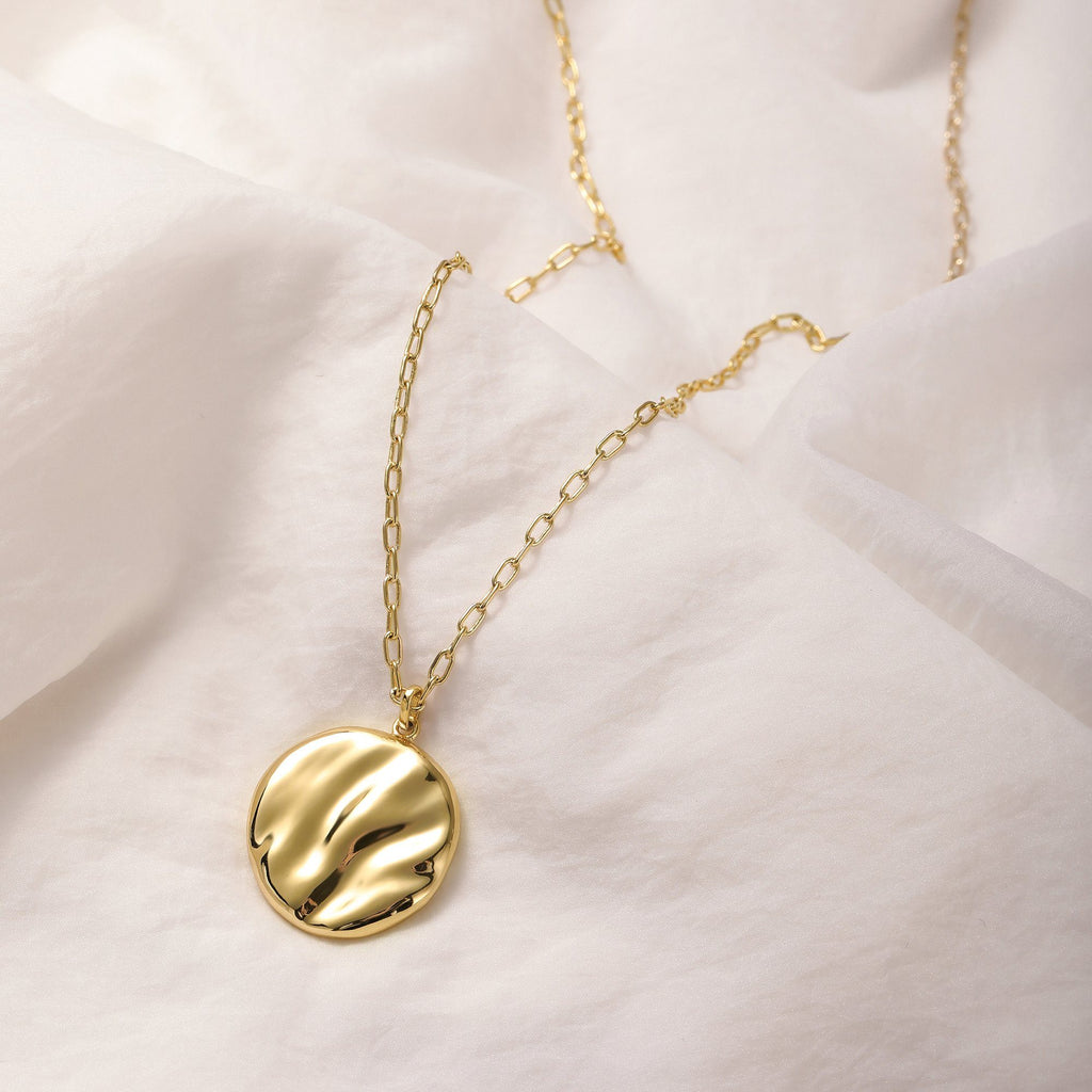 18K Yellow Gold Plated Brass disk pendant
