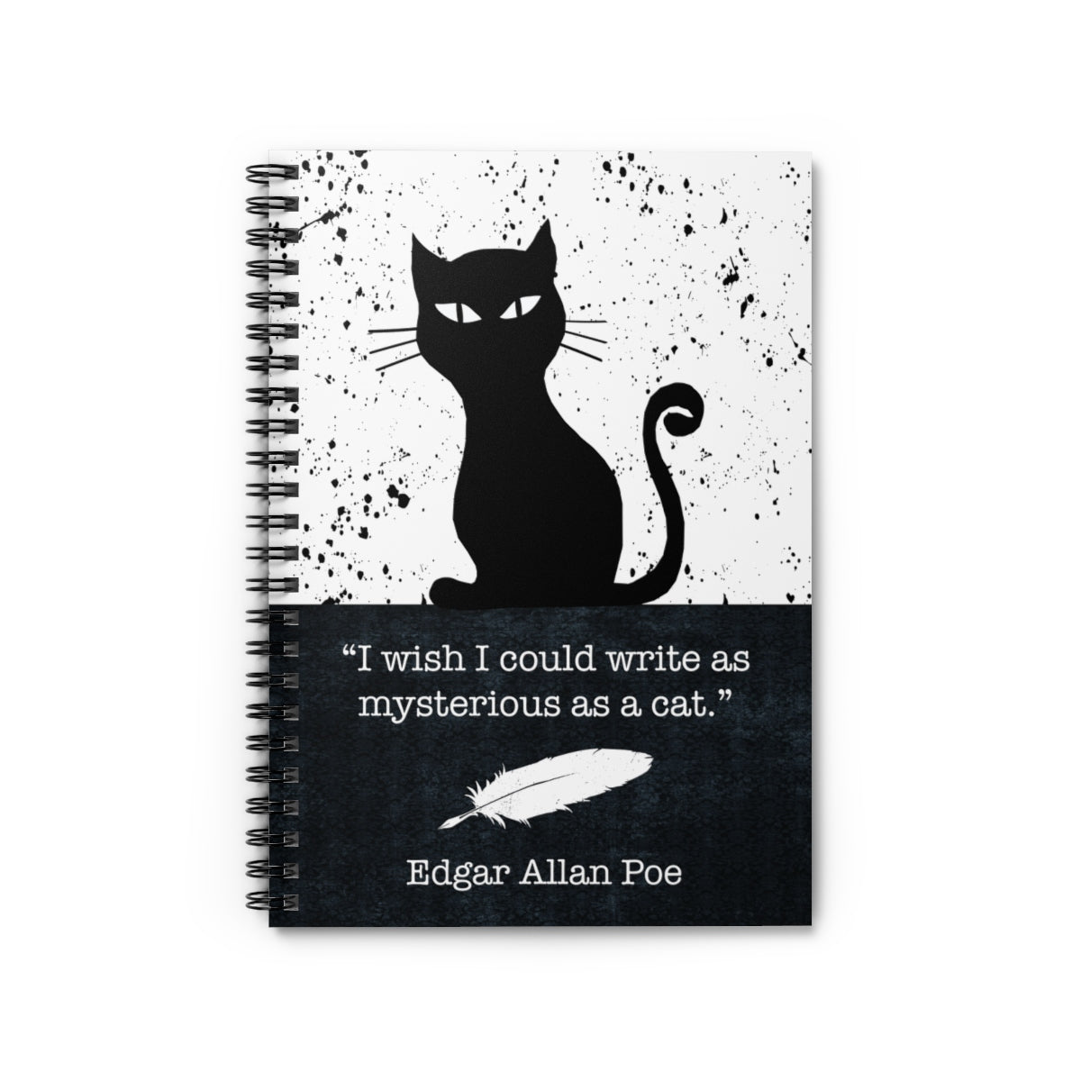 Poe Black Cat Writer's Spiral Ruled Journal