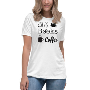 Cats Books Coffee Women's Relaxed Tee