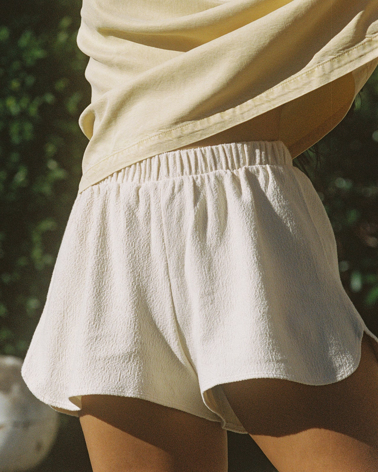 Womens Textured Shorts – Beige