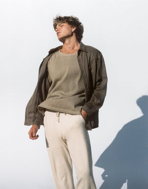 Woven Ribbed Shirt – Olive