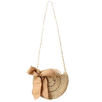 Lise Ribbon Round Straw Crossbody