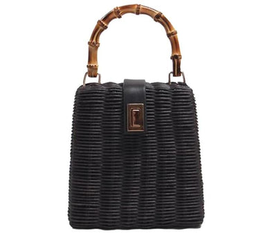 Hanna Black Straw Bag