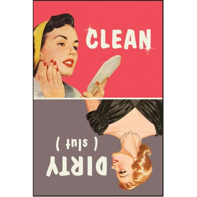 Clean. Dirty (slut) rectangular magnet, 2