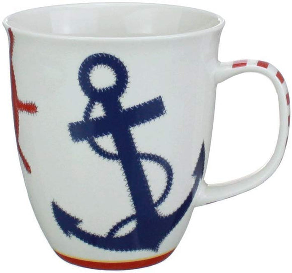 Coffee or Tea Ceramic Mug - Nautical Chic Featuring an Anchor and Ships Wheel - Dishwasher and Microwave Safe - 16 Oz Capacity by Cape Shore