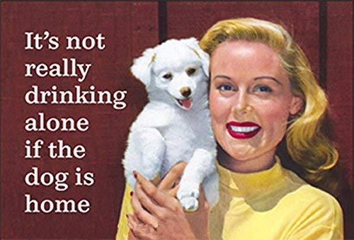 It's Not Really Drinking Alone If The Dog Is Home.... funny fridge magnet (ep)