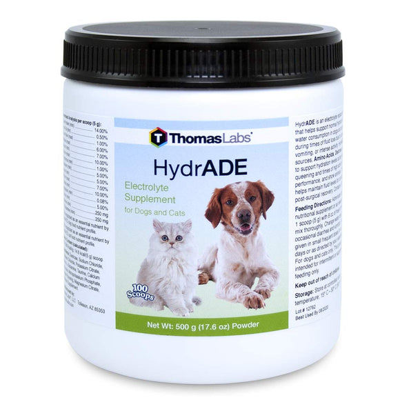 Thomas Labs Hydrade - Electrolytes for Dogs & Cats - Electrolyte Supplement for Pets