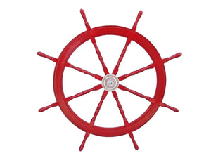 "Handcrafted Model Ships Classic Wooden Whitewashed Decorative Ship Steering Wheel 36"" - Nautical Home Decoration"