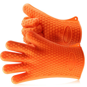 ThermoPro TP100 Silicone BBQ/Cooking Gloves Heat Resistant Up to 392°F, Chef Grilling Accessories Insulated Silicone Oven Mitts Gloves for Cooking Baking Barbecue Potholder - One Size fits All